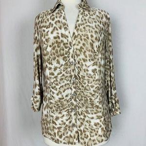 INC Size L Blouse Animal Leopard Print Button